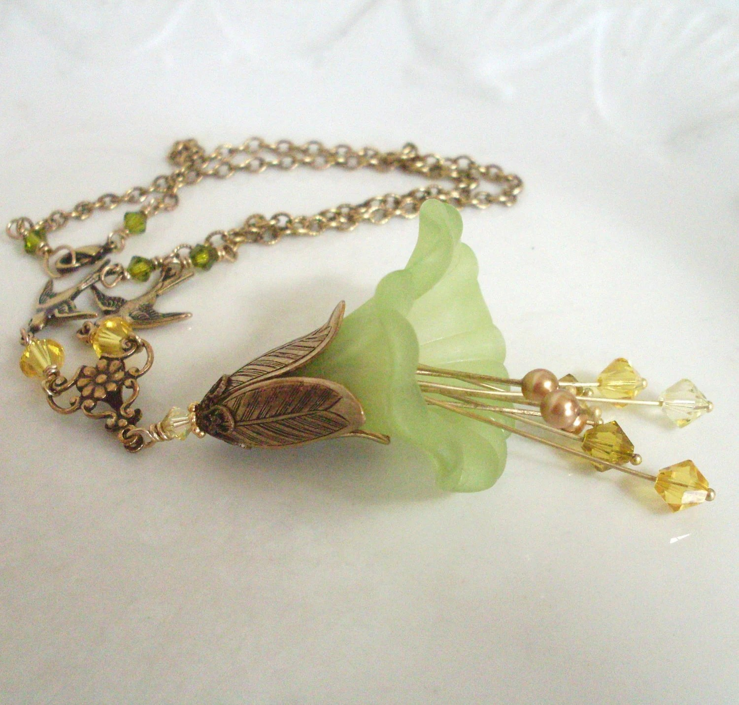 Lucite flower necklace, green, yellow. Flower pendant with stamens, birds, crystal and brass. Lucite flower jewelry, brass jewelry. - ArtfulTrinkets1