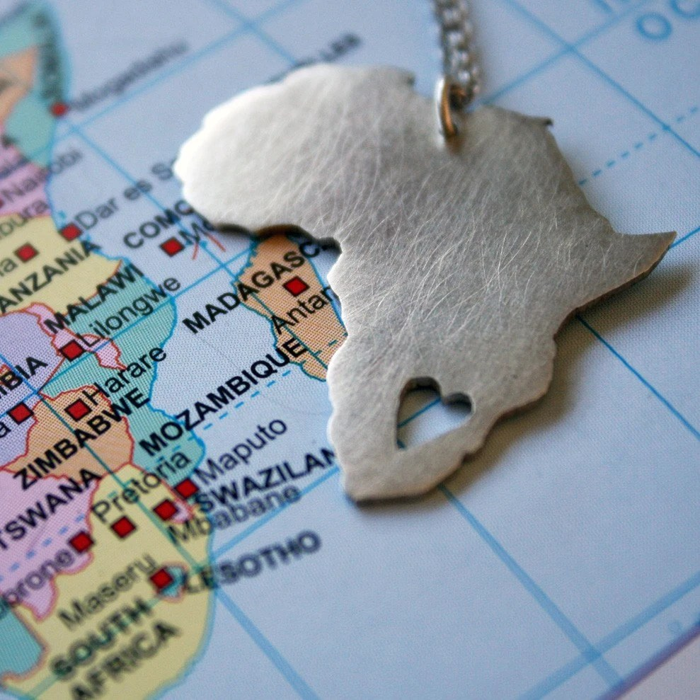 Africa Pendant Necklace African Continent Pendant in Sterling silver South Africa Map African Love