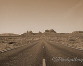 Vintage View of Monument Valley Highway - Sepia Toned - 5x7 Fine Art Giclee Print - PixelGallery