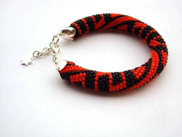 Bead crochet rope bracelet- black and orange beaded bracelet- beads jewelry- beaded jewelry, plus size  ,geometric jewelry - RebekeJewelryShop