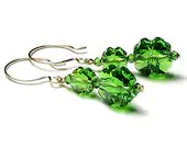 Lucky Irish Green Shamrocks 14K Gold Filled French Hoop Swarovski Crystal Four Leaf Clover Earrings - whimsydaisydesigns