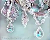 5x7 BLING -Chandelier Crystals- Sparkles- Aqua Blues Violet Lavender- Shabby Vintage - Bokeh -Affordable Fine Art Photography - dorataya