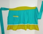 Half Apron in Aqua and Yellow Polka Dots - AuntieMsOriginals