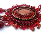 Bead embroidered pendant, Beaded jewelry, Beadwork necklace, Seed bead necklace,  Brown and red, summer - ibics