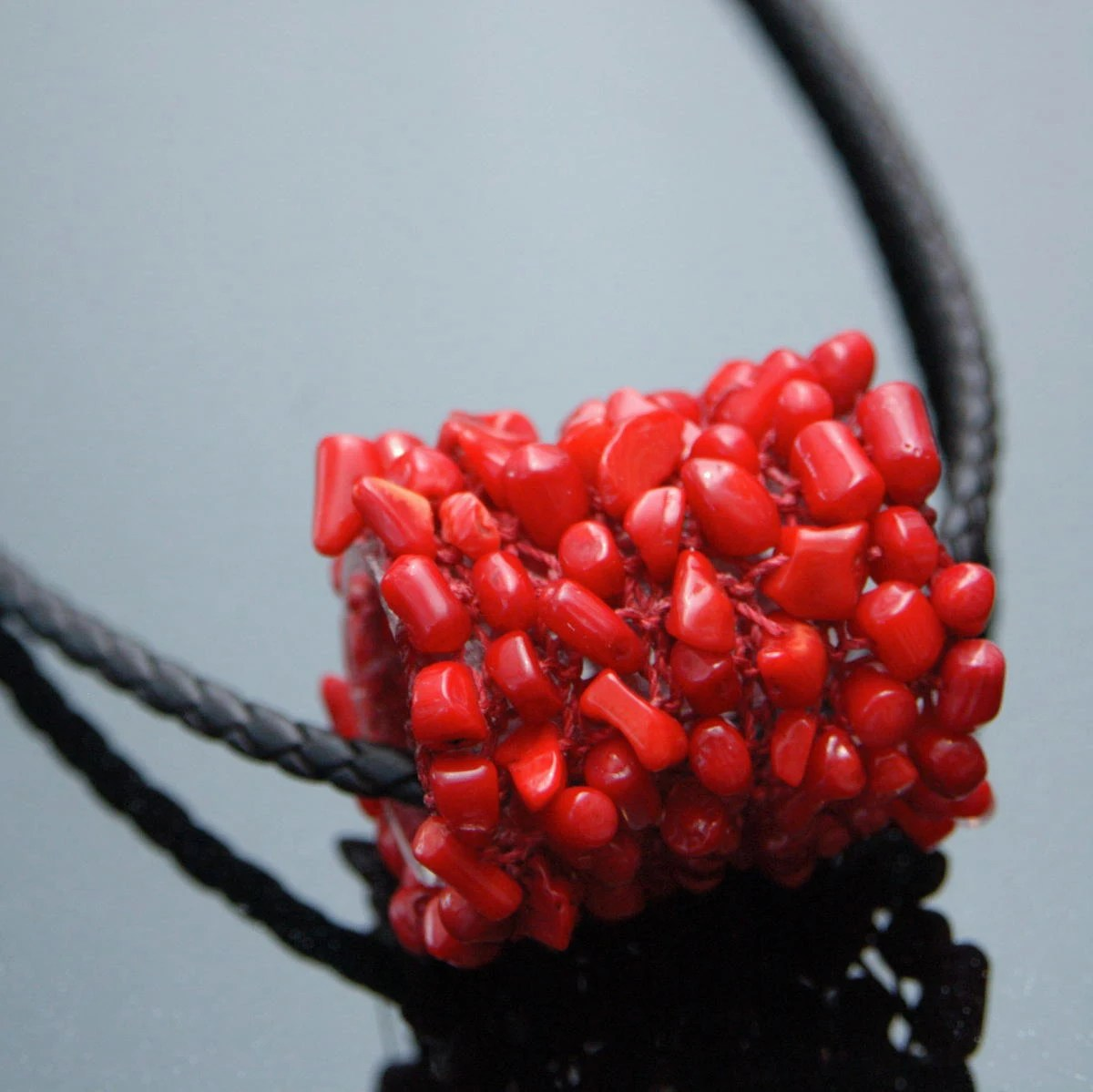 Red Coral Pendant - Cylinder Shaped Pendant Hand-knitted from Red Nylon Yarn with Natural Red Coral Chips