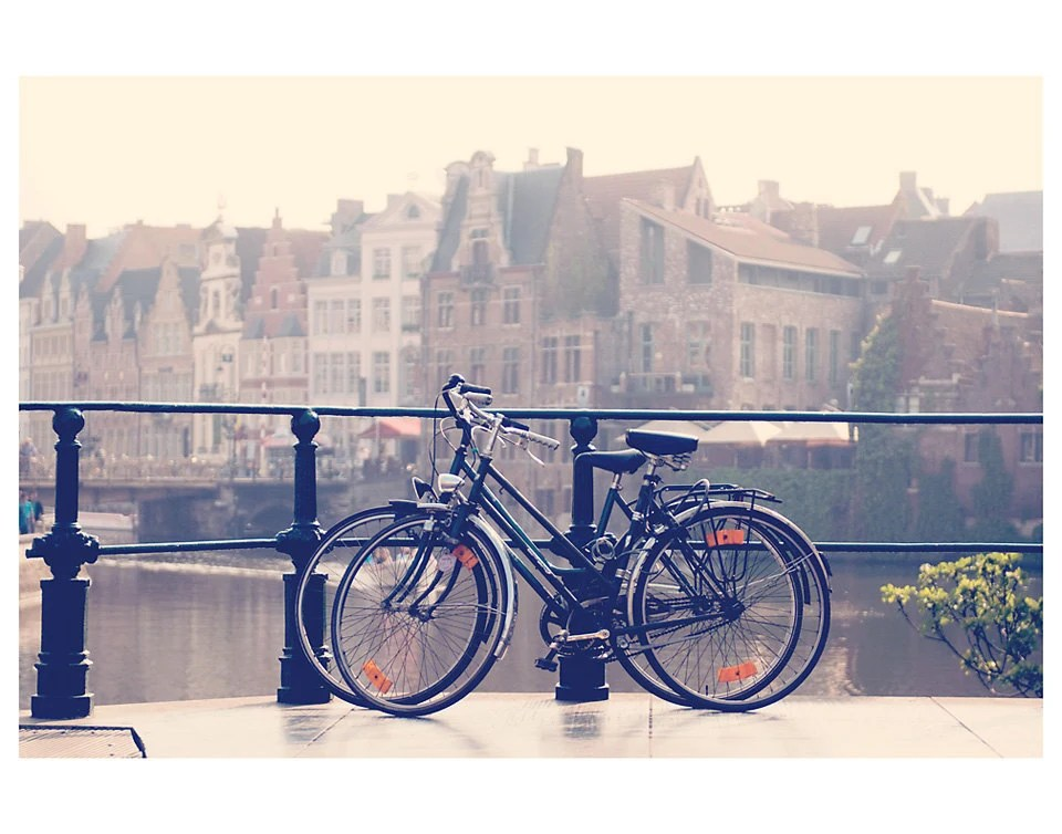 bicycle dusk city ghent europe photo print - whimsical fine art architecture photography, enchanting, travel, romantic, dream - 14x11 - oohprettyshiny