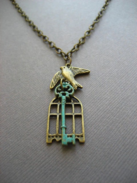 Antique Bronze Birdcage Necklace with Flying Bird and Faux Verdigris Patina Skeleton Key