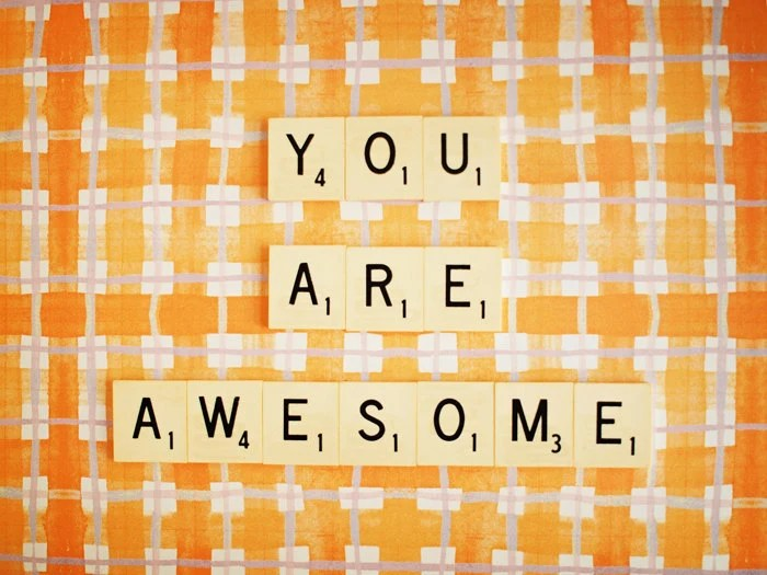 """You Are Awesome. Retro Scrabble Tiles. Orange Plaids. Vibrant Sunny Square. Retro Affordable Art. Fathers Day. Fine Art Photography 5x7"""" - happeemonkee"""