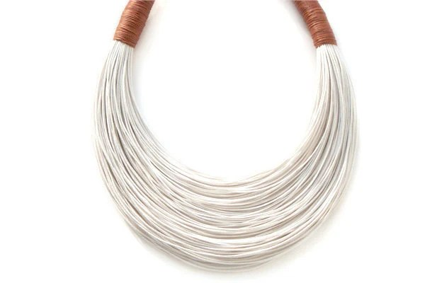 White and Cinnamon statement necklace Spring - Summer Collection - superlittlecute