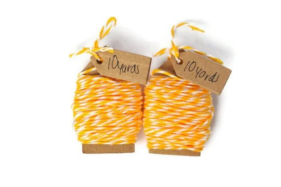 Cotton Bakers twine . sunshine yellow . wrapping cord . thin string . 20 yards . gift wrap . packaging . organization . scrapbooking - TodoPapel