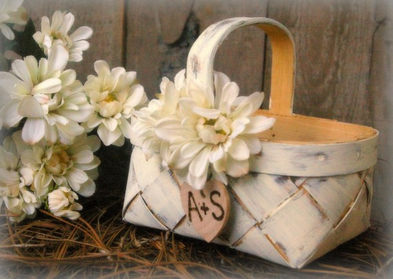 Flower Girl Basket Rustic Wedding Decor Shabby Chic Personalized (YOU CHOOSE COLOR) - MinSvenskaLandgard