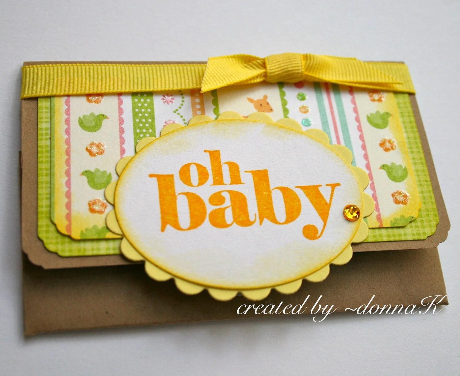 Oh Baby Gift Card Holder - yellow boy or girl