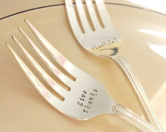 Hostess Gift Personalized Fall Thanksgiving Flatware Servingware Set of 2 Hand Stamped Large Meat Serving Forks Customized Turkey Ham Fork - RiverValleyJewelry