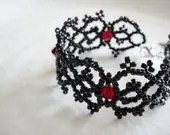 Gothic Lolita Cuff Bracelet, Victorian Lace Bracelet, Black and Red Seed Bead Jewelry, Gothic Wedding Jewelry, Gift For Her - lapuzelo