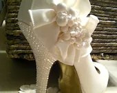 Ivory Wedding Shoes, Custom swarovski wedding bridal shoes, Bridal and Prom High Heels - AngelesqueStilettos