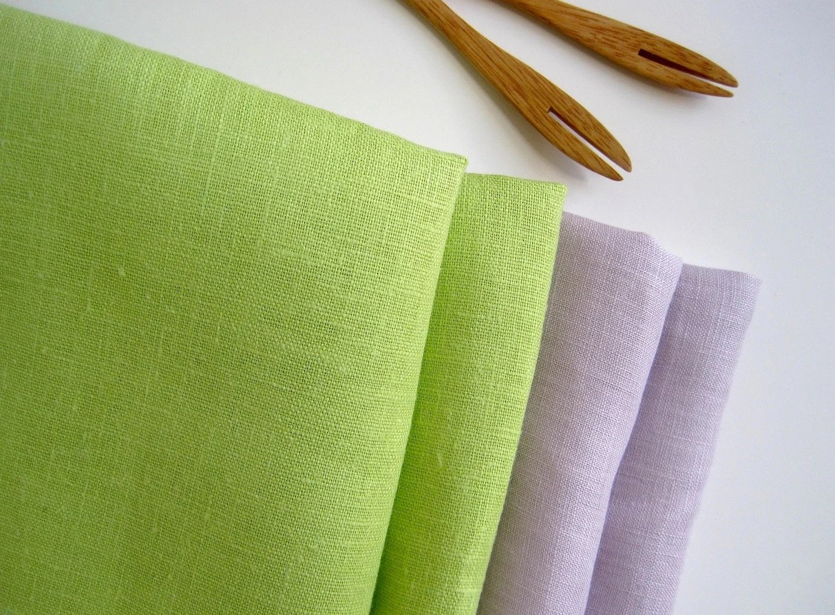 Purple and Green Linen Napkins set of 4, natural linen table linens, summer weddings gift, lavender dinner napkins - PaintRobot