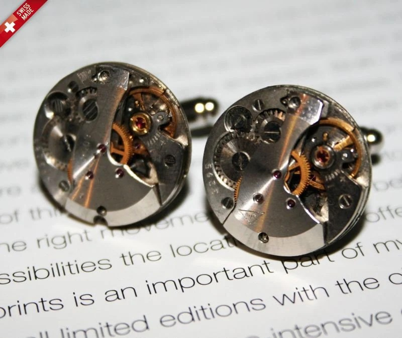 Extravagant Steampunk cufflinks watch mechanism Silver Plated Backs SWISS MADE - WARRANTY