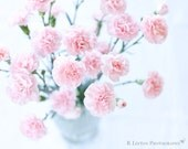 Flower Photography - Pink Carnations Photo - 8x10 Fine Art Photography Print - Pink White Home Decor - BLintonPhotography