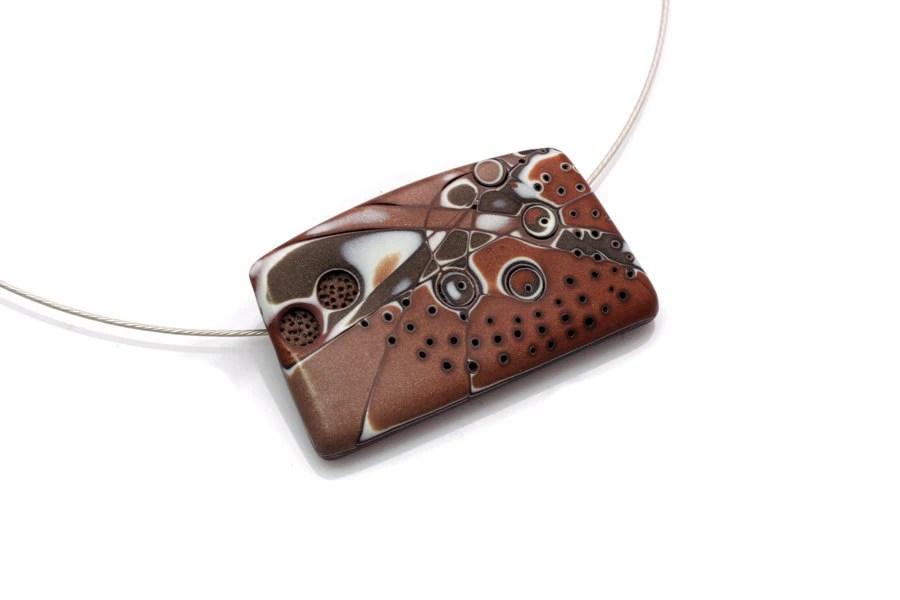 Original Art Brown Pendant Necklace, OOAK Polymer Clay Pendant - JagnaB