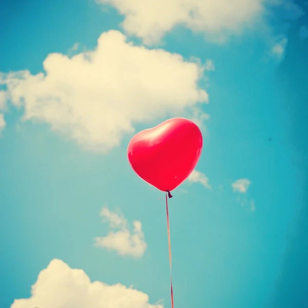 "Red Heart Balloon on Happy Retro Blue Sky - Fine Art Photography (8"" x 8"") - AndrekaPhotography"