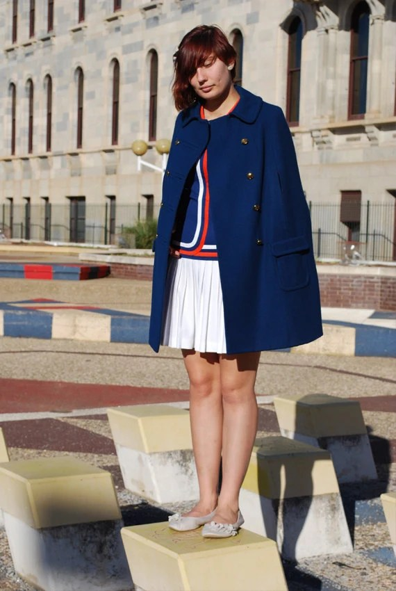 Vintage military style navy cape with matching mini-dress