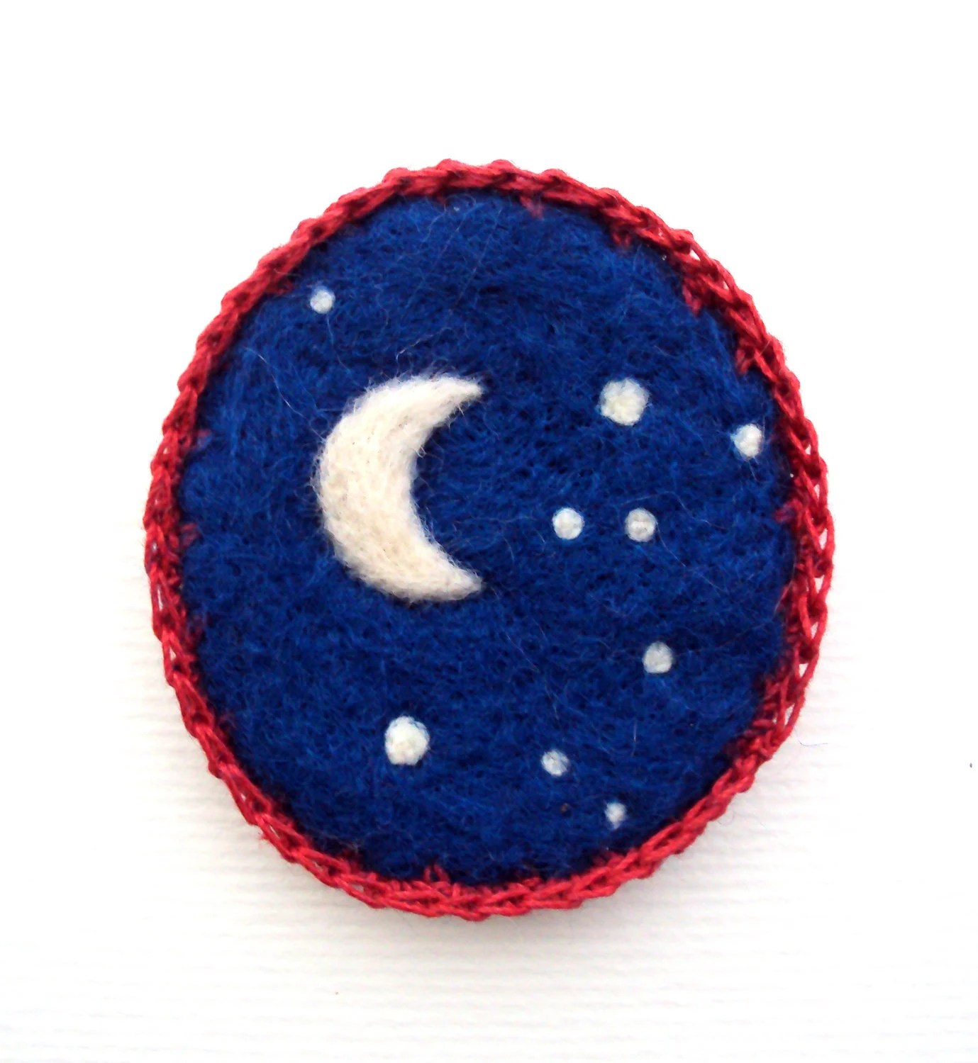 ultramarine blue brooch, felted crescent moon badge, made to order. - OnNiche