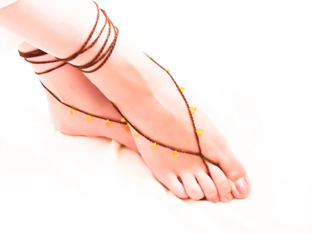 Chocolate  lemon barefoot sandals Beaded crochet nude shoes, Gypsy fashion, sexy foot slave jewelry,  yoga, anklet , bellydance, foot thong - Mashacrochet