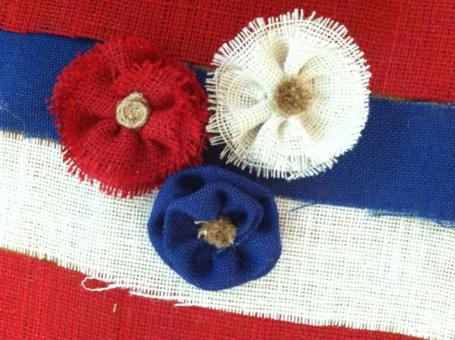 Red, White and Blue... Burlap flowers - TickleberryMoon