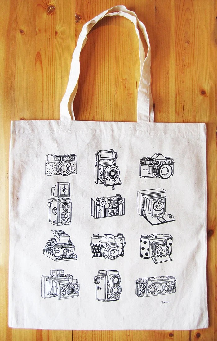 Cameras canvas tote bag - yeonistudio