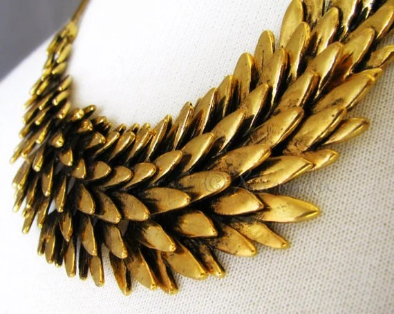 New Year 2013 Sale 10% Off - Gold Statement Necklace Fallen Angel - Artisan Made Antiqued Gold Angel Wing Jewelry - Gift For Her - xanadulady