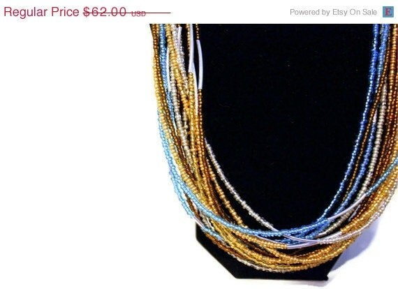 "Christmas in July Sale Statement Necklace: ""East End"" Blue & Gold Multi-Strand Beaded Necklace"