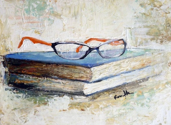 Original Acrylic Contemporary Fine Art Still Life Painting Titled: A Rest from Reading by Rose Allen - rallen1402