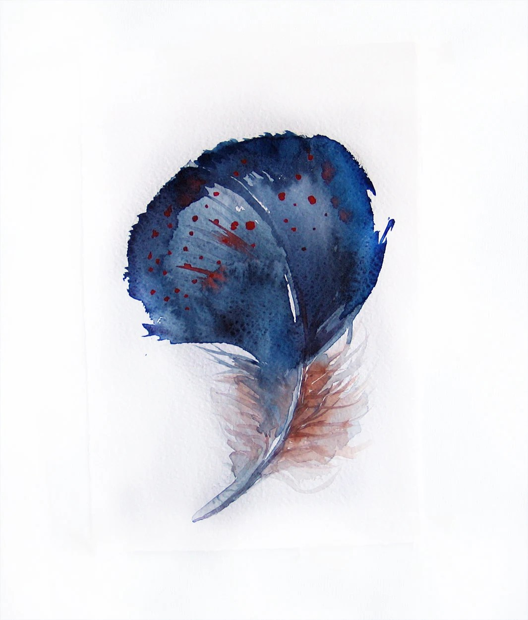 Watercolor Feather-Feather painting of watercolor-Blue feather 7.5/11 inch-Art original-Wall art - rakla