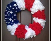 "18"" Red White and Blue Flag Wreath - TheGlueGunGuru"