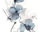 Watercolor Wall Decor Indigo Blossoms floral giclee fine art print 8x10 inches - karenfaulknerart