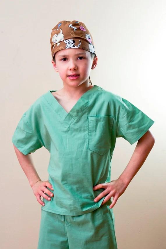 Children's Scrubs and Hat Size 5 6 7 or 8 custom made Costume - OriginalsbyLaurenToo