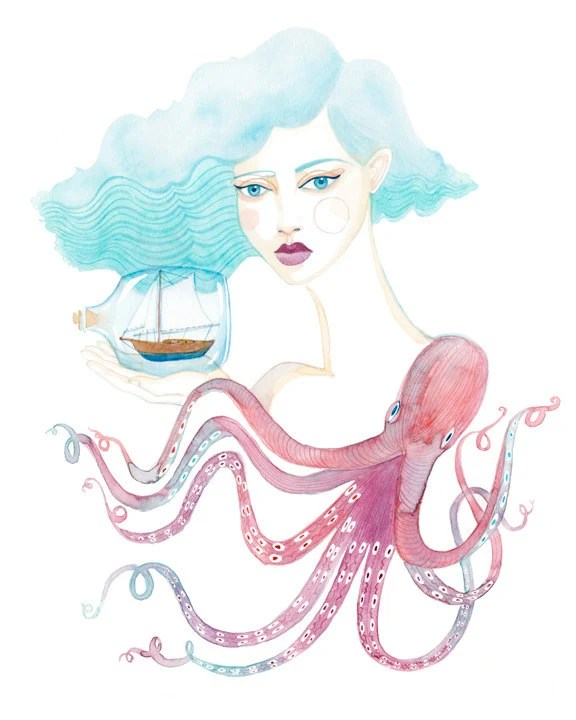 PRINT / Marina / girl with sailboat and octopus