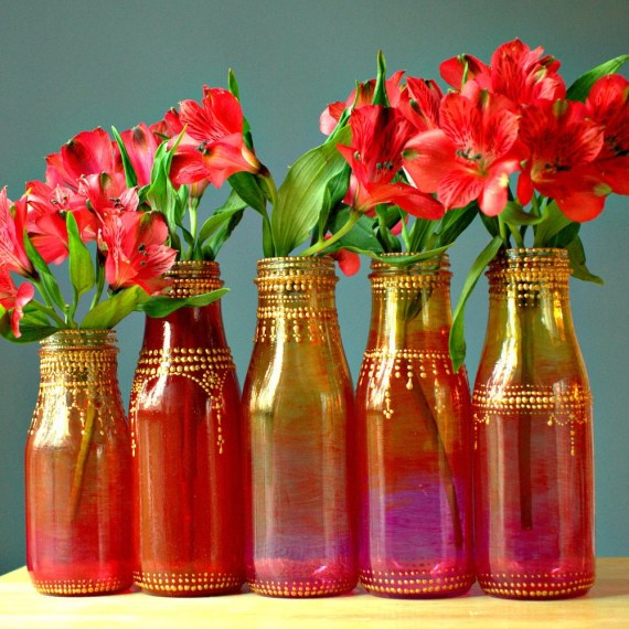 Group of Five Hand Painted Flower Bud Vases, With Colorful Ombre Glass from Ruby Red to Intense Pink, with Gold Accents - LITdecor
