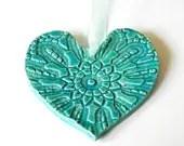 Ceramic Heart Ornaments Caribbean Blue Pottery Vintage Lace Pattern Organza Ribbon