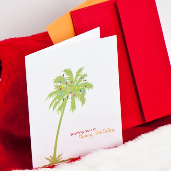 Palm Tree Christmas Holiday Card Set (30) plus Matching Address Labels - DGInvites