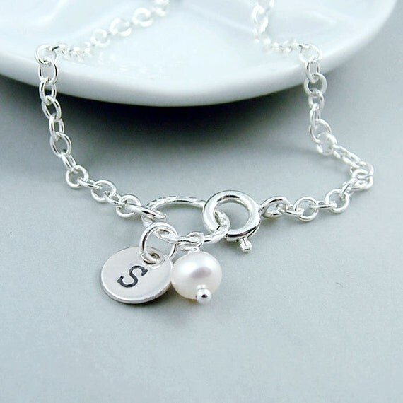 Silver Initial Bracelet, Handstamped Custom Initial and Pearl Bracelet, Simple, Everyday Jewelry, Bridesmaid Gift
