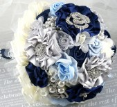 Brooch Bouquet Wedding Bouquet Navy Blue, Ivory, Silver and Powder Blue - Something Blue - SolBijou