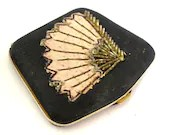Vintage  French 1920's silk Powder Compact for I. Magnin