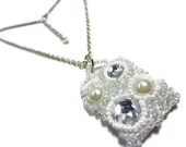 Beaded Rhinestone and Pearl Pendant - MegansBeadedDesigns