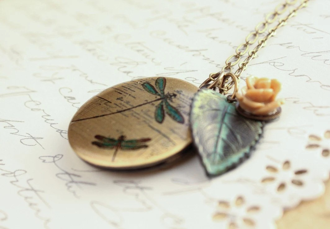 Picture Locket Necklace, Rose Charm, Verdigris Leaf, Patina Pendant Long Dragonfly Photo Locket Secret Hiding Place Momentos Memory Keeper - apocketofposies