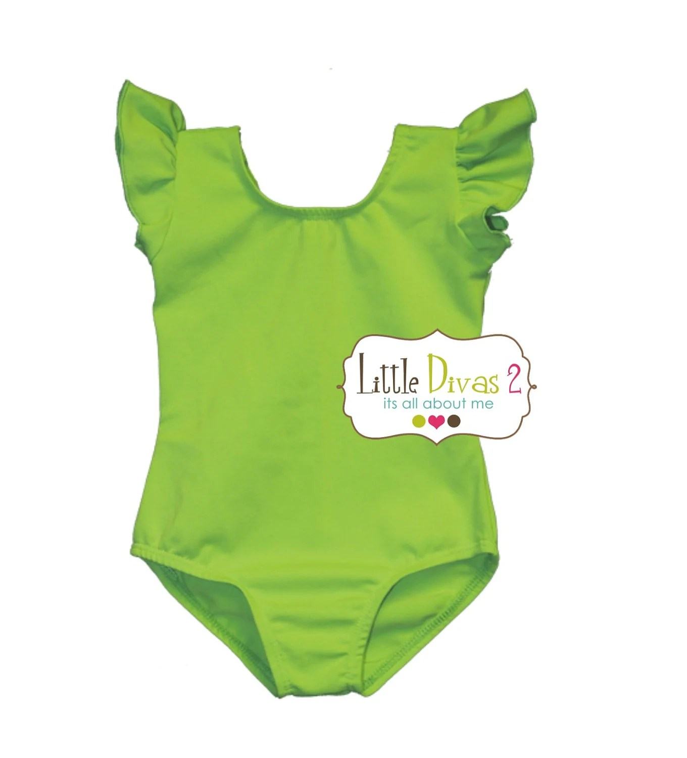 CHILD (Lime Green) FLUTTER/RUFFLE Sleeve Leotard - LittleDivas2