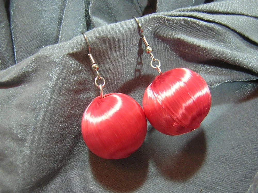 Red Christmas Ornament Earrings - Handmade by Rewondered D225E-24243 - $8.95
