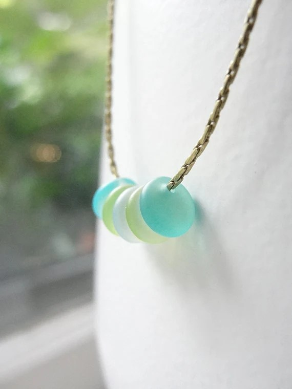 Aqua blue, lime green and soft white sea glass pebble necklace - white aqua lime necklace beach glass
