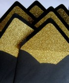 Black and Gold Glitter Lined Envelopes - TheRedDahlia