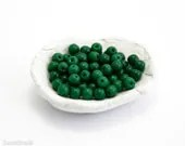 Czech Green Beads 4mm (100) Small Glass Pressed Round Druk Opaque Spacers Thin Spring - LaserBeads